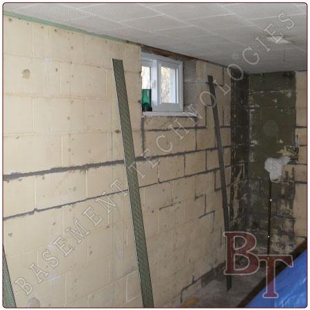 Cinder block foundation bowed wall repair galleries and for Block basement walls